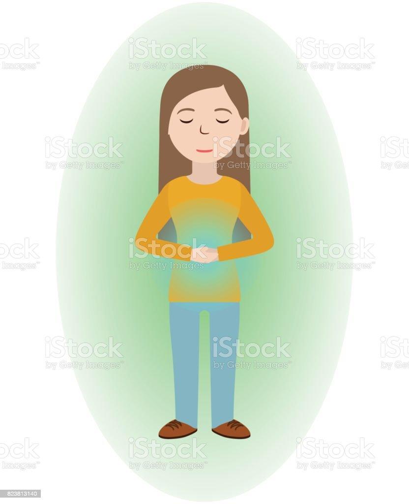 Energetische Heilung. Mädchen, die sich mit Energiefeld heilen. Pranic healing. – Vektorgrafik
