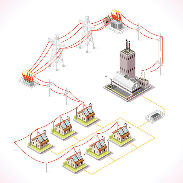 Energy 13 Infographic Isometric Electric Energy Distribution Chain Infographic Concept. Isometric 3d Electricity Grid Elements Power Grid Powerhouse Providing Electricity Supply to the City Buildings and Houses power station stock illustrations