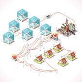 Underwater Turbine Electricity. Isometric Windmill Farms Power Plant Factory Electric Power Station Electricity Grid and Energy Supply Chain. Energy Management Diagram 3d Vector Illustration