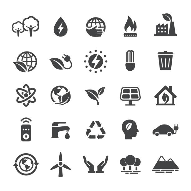 energy and eco icons - smart series - energy saving stock illustrations, clip art, cartoons, & icons