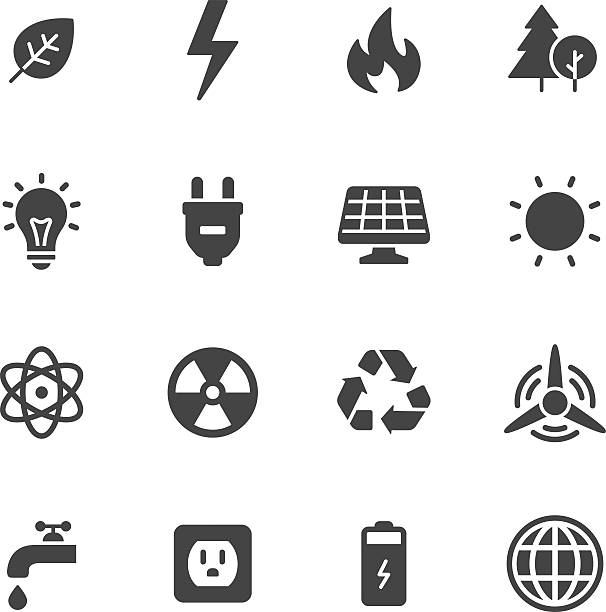 ilustraciones, imágenes clip art, dibujos animados e iconos de stock de energía y ecología iconos - sólido