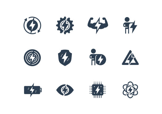 Energy and Electricity Related Vector Icon Set in Glyph Style Energy and Electricity Related Vector Icon Set in Glyph Style rechargeable battery stock illustrations