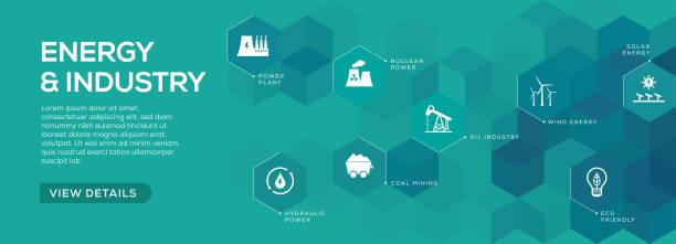illustrations, cliparts, dessins animés et icônes de énergie et industrie banner design - infographie industrie manufacture production