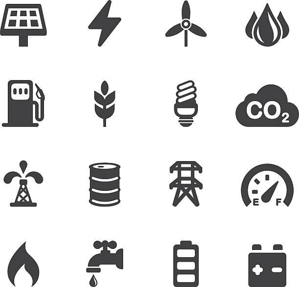 bildbanksillustrationer, clip art samt tecknat material och ikoner med energy and industry silhouette icons | eps10 - co2