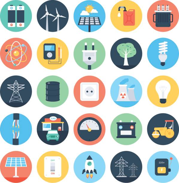 ilustraciones, imágenes clip art, dibujos animados e iconos de stock de energía y potencia de color los iconos vector 1 - amperímetro