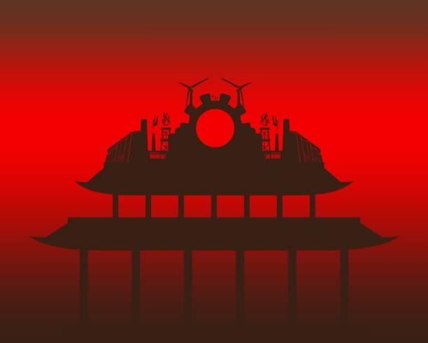energy and power icons and pagoda building - burma home do stock illustrations