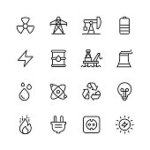 16 Energy Outline Icons.