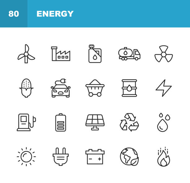 Energy and Power Icons. Editable Stroke. Pixel Perfect. For Mobile and Web. Contains such icons as Energy, Power, Renewable Energy, Electricity, Electric Car, Coal, Gas, Nuclear Power, Battery, Factory, Sun, Solar Energy, Fire. vector art illustration