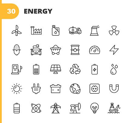 30 Energy Outline Icons. Wind Turbine, Factory, Oil, Supply Chain, Nuclear Power Plant, Radioactive, Corn, Bioenergy, Electric Car, Coal Mining, Oil Barrel,  Performance, Lightning, Gas Station, Battery, Solar Plant, Recycling, Water, Sun, Power Plug, Climate Change, Atom, Power Grid, Oil Rafinery, Oil Plant, Lightbulb.