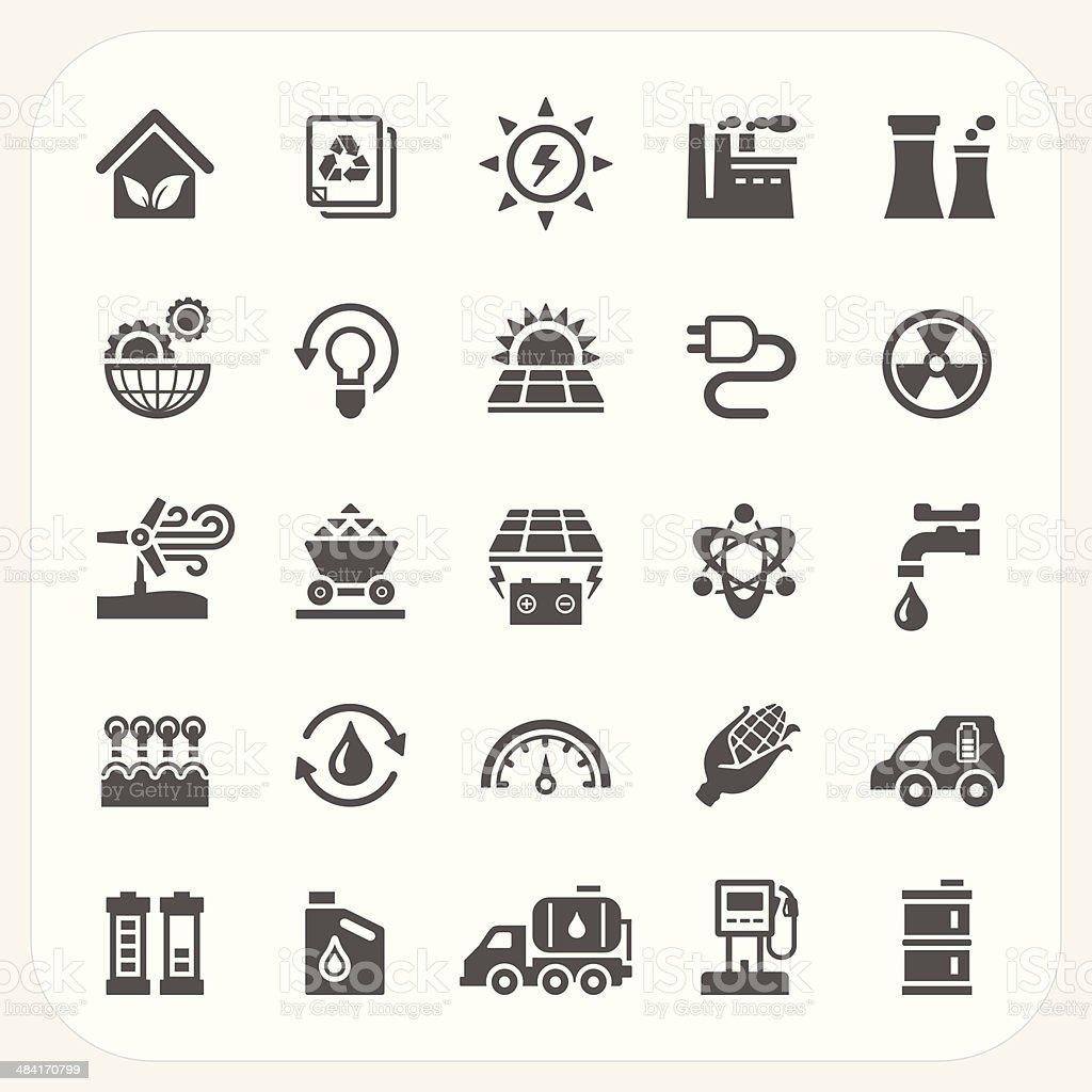 Energy and Power icons set vector art illustration