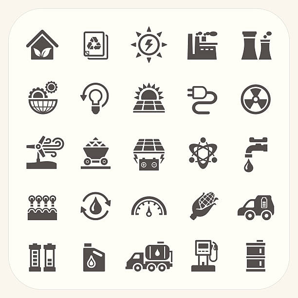 energy and power icons set - solar panels stock illustrations