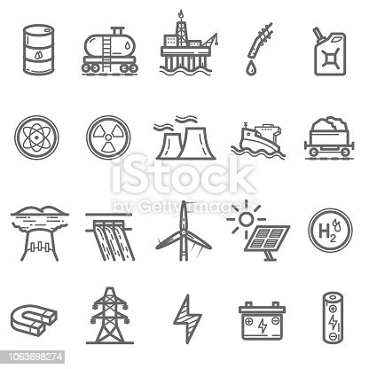 Energy and Power Line Icons Set