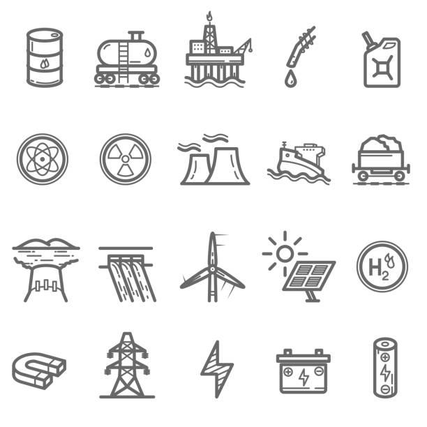 illustrazioni stock, clip art, cartoni animati e icone di tendenza di energy and power line icons set - pila a idrogeno