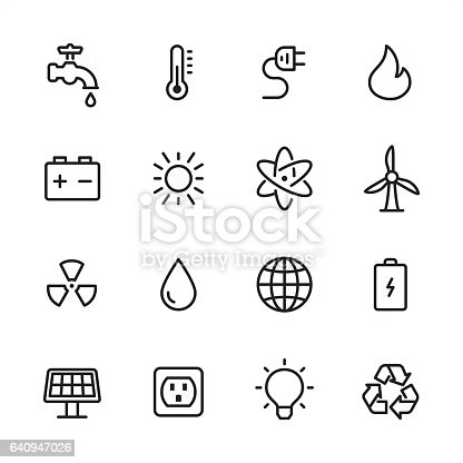 16 line black and white icons / Set #12