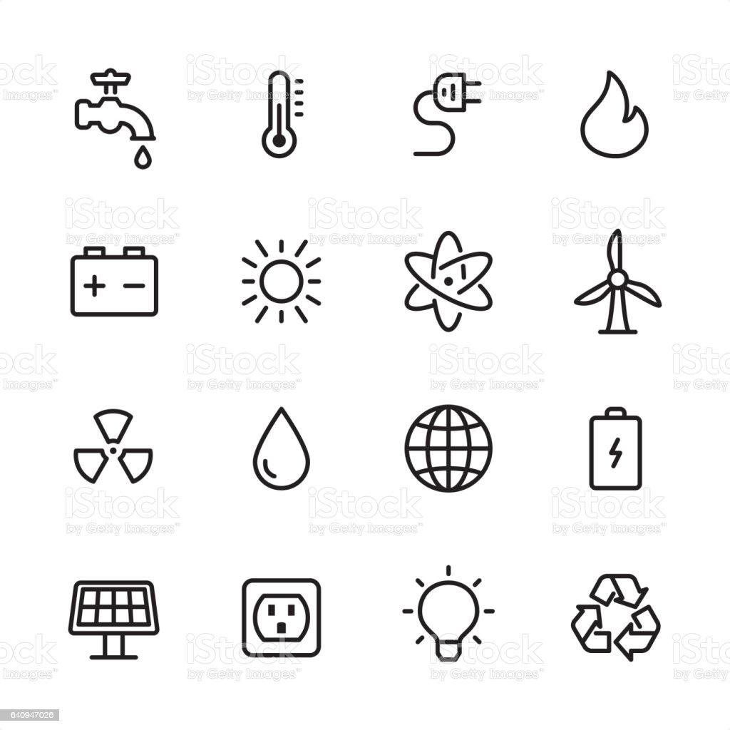 Energy and Power - outline icon set vector art illustration