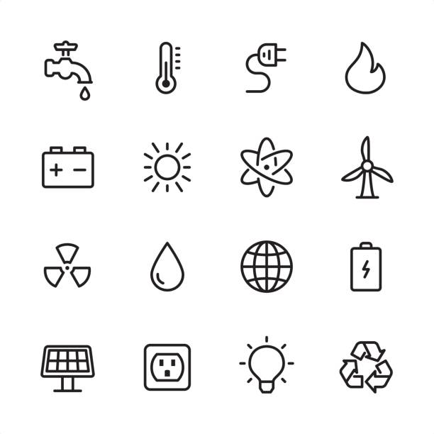 energy and power - outline icon set - energy saving stock illustrations, clip art, cartoons, & icons