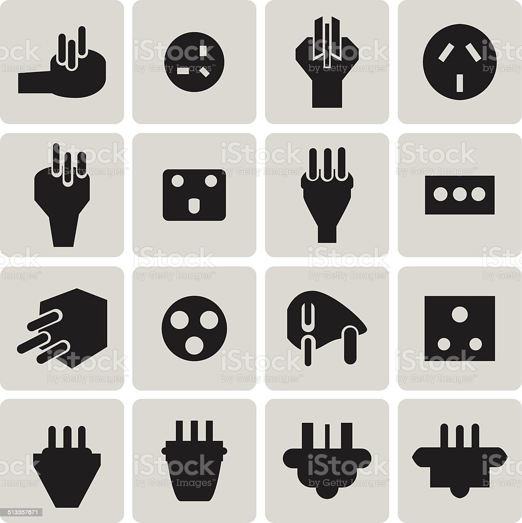 Energie und Ressourcen elektronische plug Schwarz icon set3 zu wechseln. – Vektorgrafik
