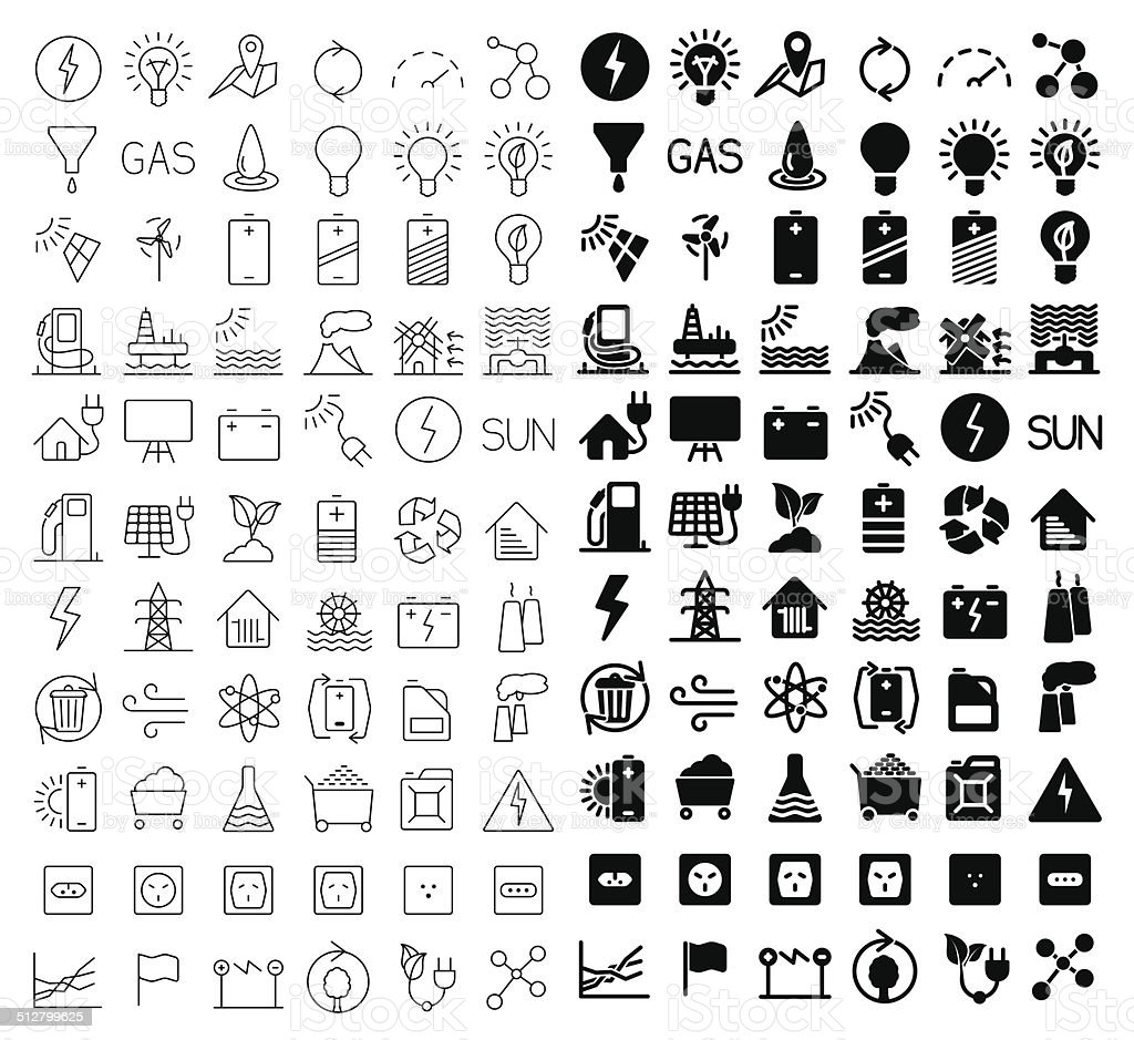 Energy and resource icon set vector art illustration