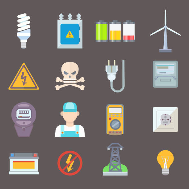 Energy and resource icon set vector illustration Energy and resource icon set. Vector illustration electricity industrial meter technology turbine. Electrical wire socket voltage nuclear battery. transformer stock illustrations