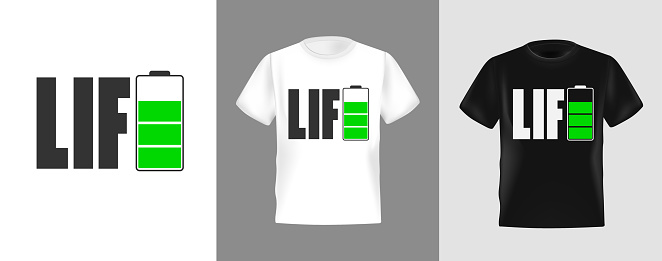Energy battery icon design for t-shirt, Vector Illustration. Suitable for clothing printing business. Stylish t-shirt and apparel design. Life lettering in form of letter E battery icon.