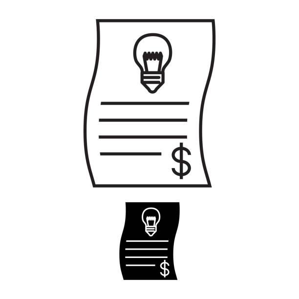 energy bill icon - dollar bill stock illustrations