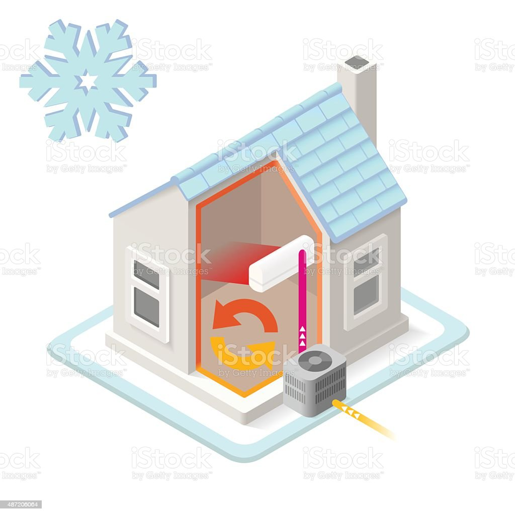 Energy Chain 01 Building Isometric vector art illustration