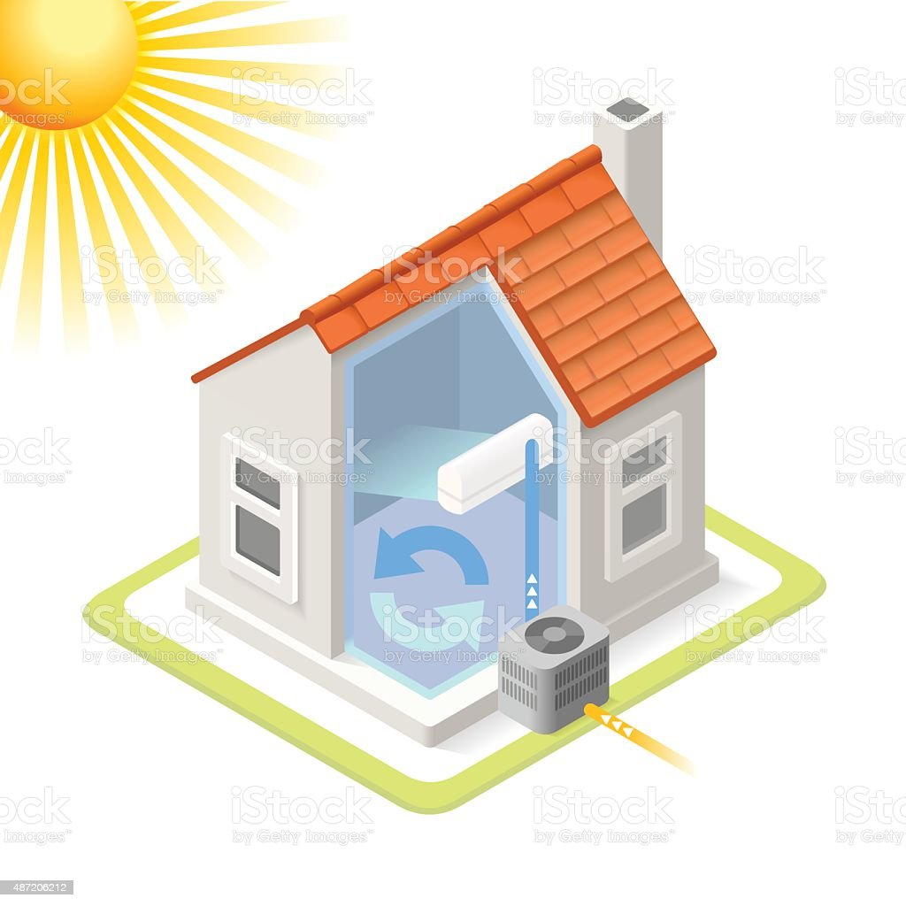 Energy Chain 02 Building Isometric Heat Pump House Cooling System Infographic Icon Concept. Isometric 3d Soften Colors Elements. Air Conditioner Cool Providing Chart Scheme Illustration Heat - Temperature stock vector