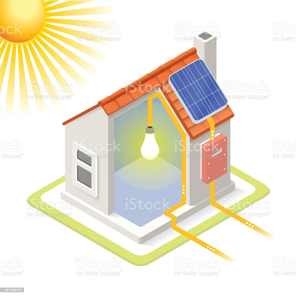 Energy Chain 03 Building Isometric vector art illustration