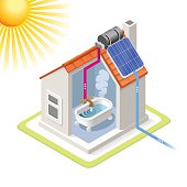 Clean Energy House Solar Panels Infographic Icon Concept. Isometric 3d Soften Colors Elements. Heating Providing Chart Scheme Illustration