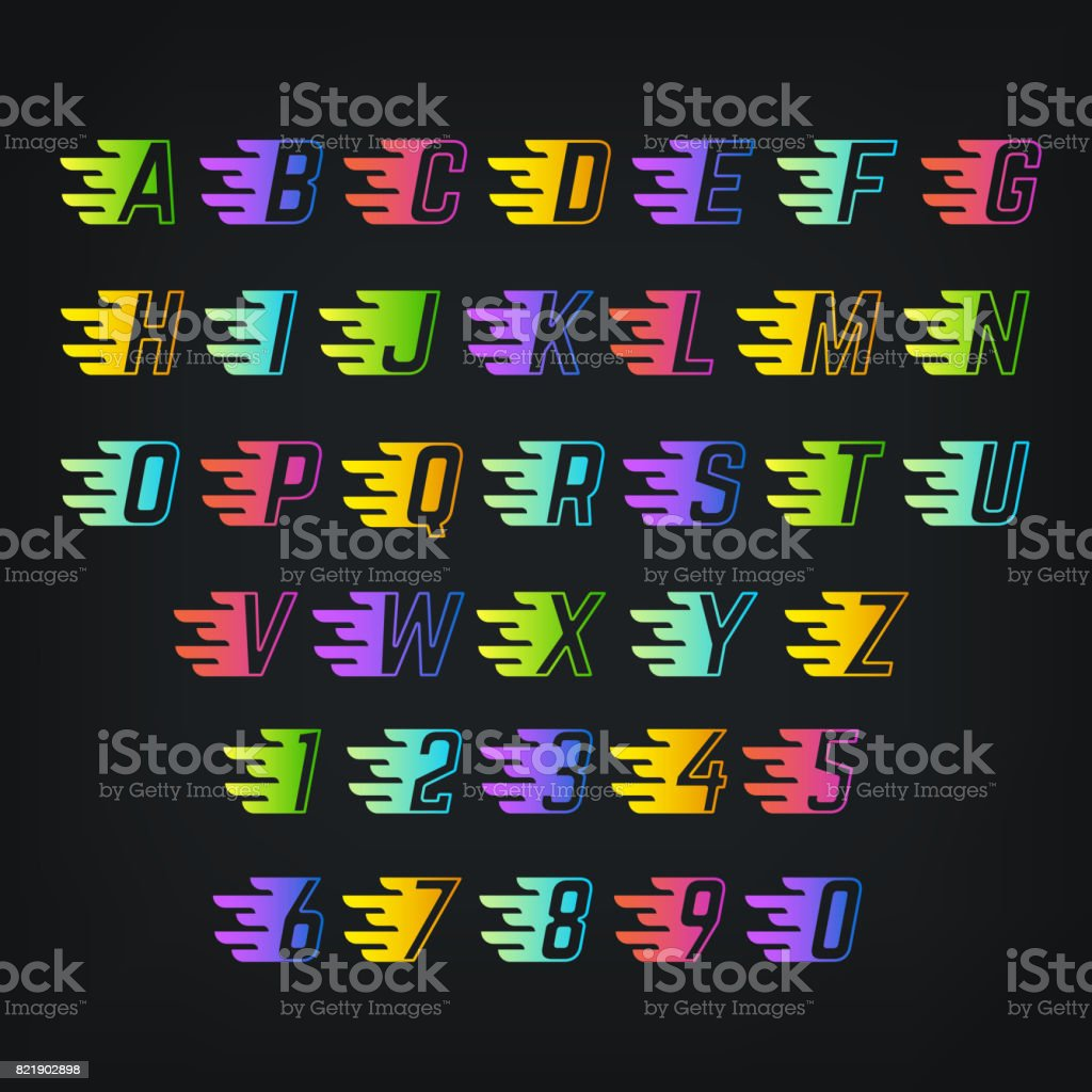 energy color alphabet letters with speed lines graffiti or sports vector font royalty