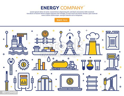 Line vector illustration of energy and resources concept. Banner/Header Icons.