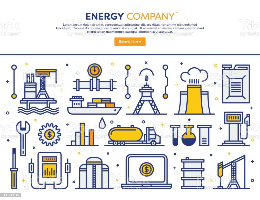 Concepto de empresa de energía - ilustración de arte vectorial