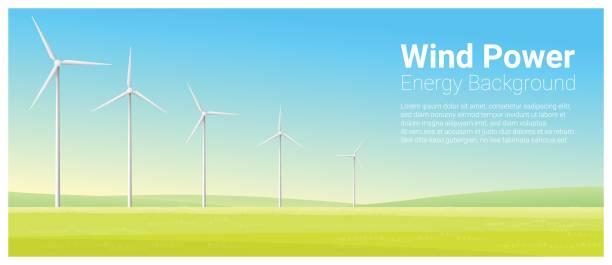 stockillustraties, clipart, cartoons en iconen met energie concept achtergrond met windturbine, vector illustratie - windmolen