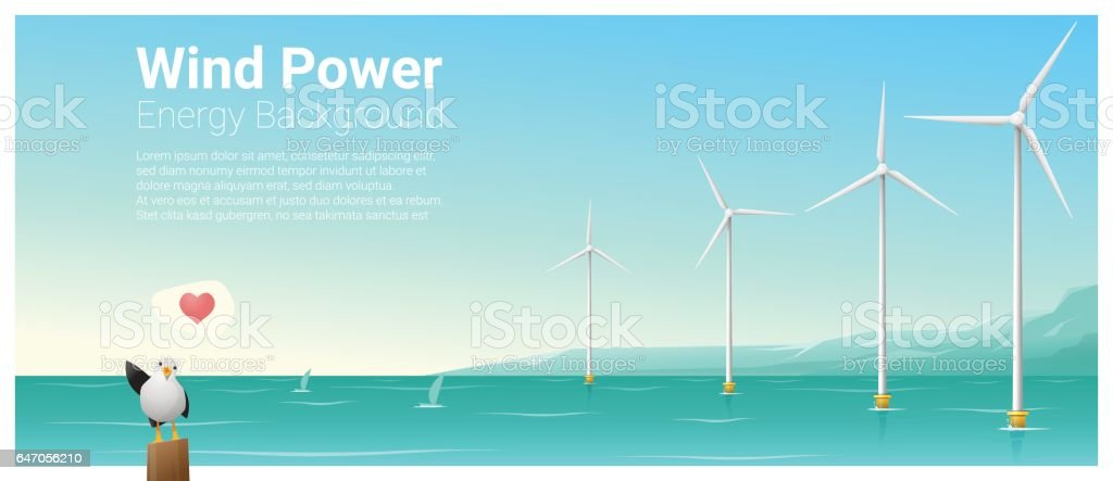 Energy concept background with wind turbine , vector , illustration vector art illustration