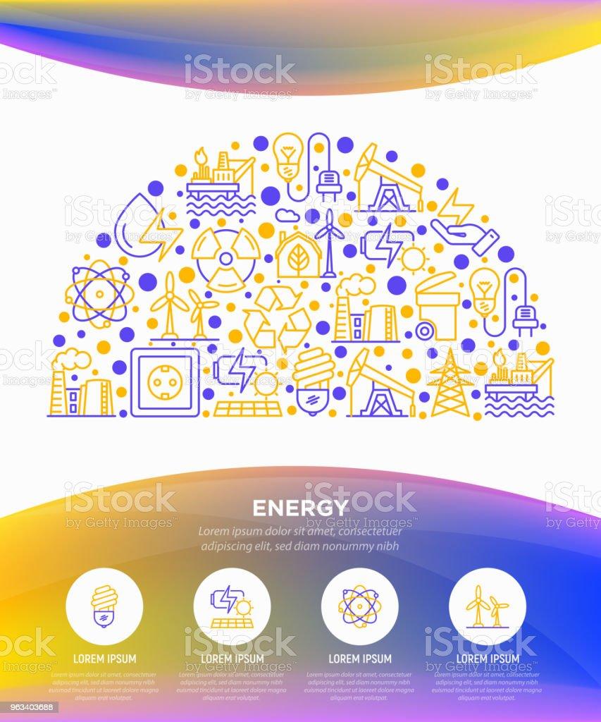 Energy concept in half circle with thin line icons: factory, oil platform, hydropower, wind energy, power socket, radioactivity, garbage, oil rig, recycling. Vector illustration, web page template. - Grafika wektorowa royalty-free (Bateria - Zasilanie elektryczne)
