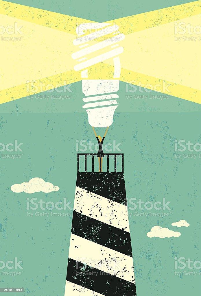 Energy conservation lighthouse vector art illustration