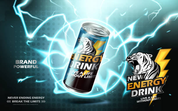 energy drink ad energy drink contained in metal can with electricity ring element, teal background 3d illustration thunderstorm stock illustrations