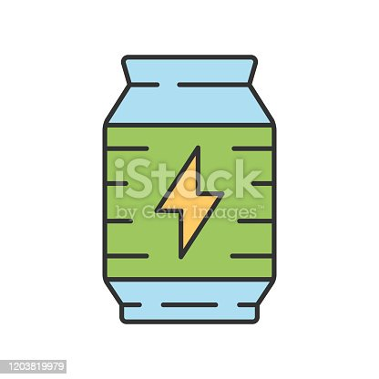 Energy drink color icon. Video game extra life, energy. Recovery levels. Beverage can. Computer game inventory, player item. Cybersport, esport equipment. Isolated vector illustration