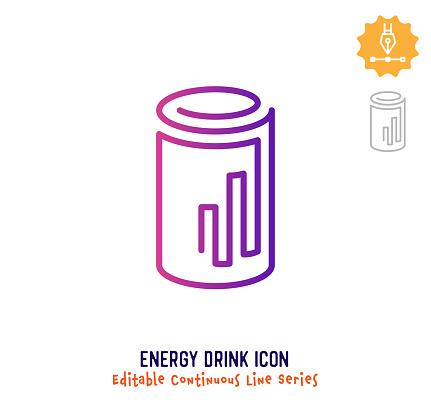 Energy Drink Continuous Line Editable Icon