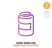 Energy drinks vector icon illustration for logo, emblem or symbol use. Part of continuous one line minimalistic drawing series. Design elements with editable gradient stroke line.
