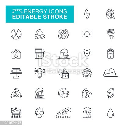 Power Line, Solar Power Station, Factory, Power Station, Editable Stroke Icon Set