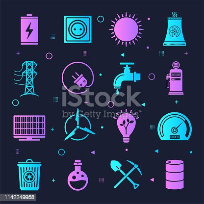 Energy efficiency and consumption neon style silhouette symbols on dark background. Vector icons set for infographics, mobile or web page designs.