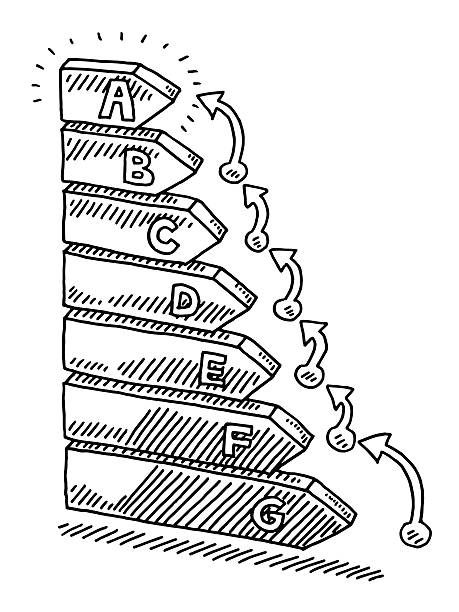 Energy Efficiency Label Improvement Steps Drawing Hand-drawn vector drawing of a Energy Efficiency Label with increasing arrows on the right side showing Steps of Improvement. Black-and-White sketch on a transparent background (.eps-file). Included files are EPS (v10) and Hi-Res JPG. abstract 3d stock illustrations