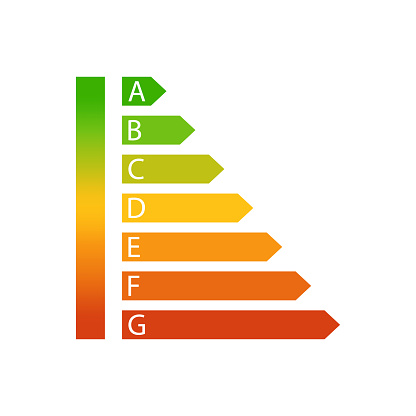 Energy efficiency rating icon. Vector illustration. EPS