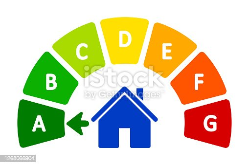 istock Energy efficient house concept with classification graph sign - for stock 1268066904