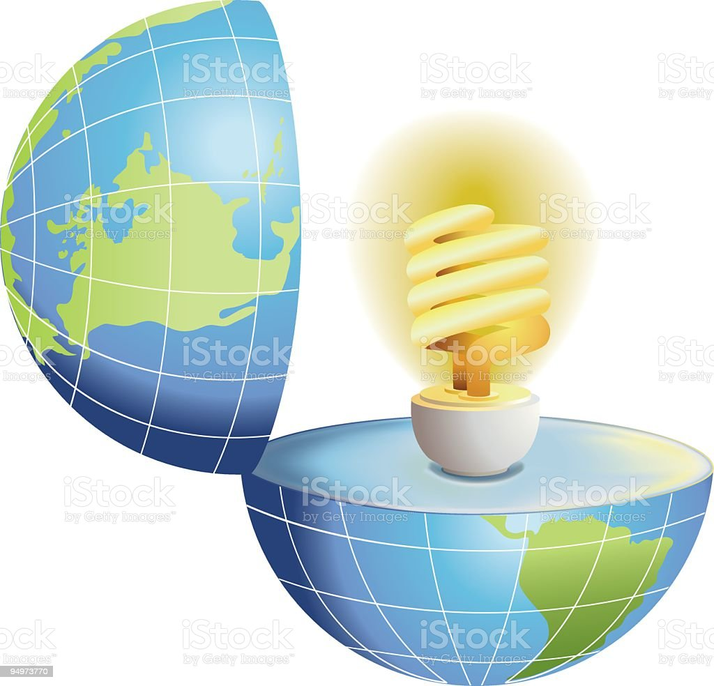 Energy Efficient Light Bulb Illustration royalty-free stock vector art