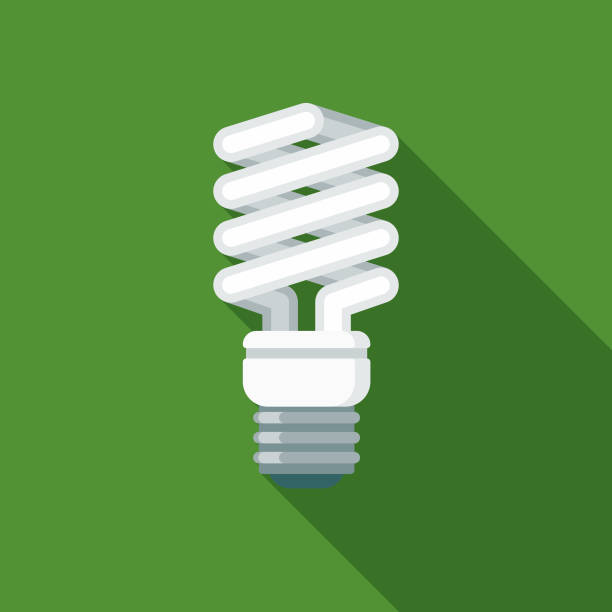 Energy Efficient Lightbulb Flat Design Environmental Icon A flat design styled shopping & e-commerce icon with a long side shadow. Color swatches are global so it's easy to edit and change the colors. energy efficient lightbulb stock illustrations