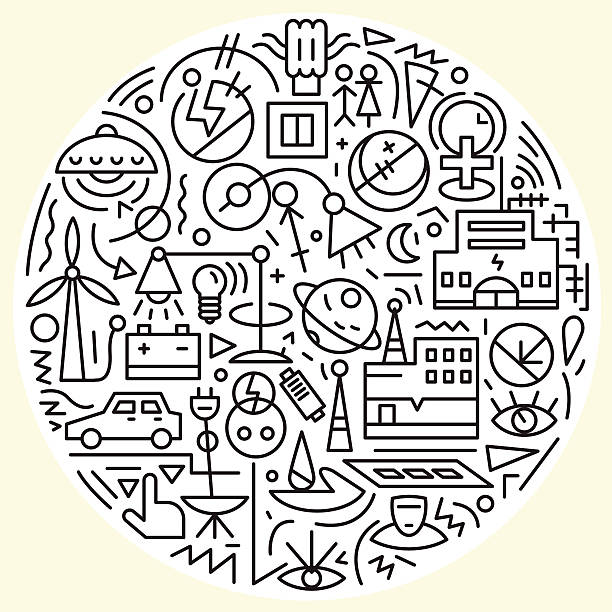 energy, electricity icons set - electrical wiring home stock illustrations, clip art, cartoons, & icons