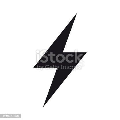 Thunderbolt, lightning zigzag simple black and white icon