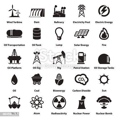 Energy, electricity, power icons Signs and Symbols